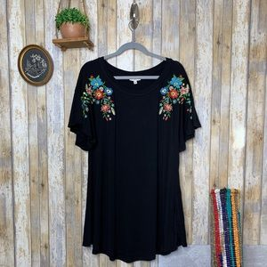 Umgee Embroidered Floral Dress w/ Ruffle Sleeves